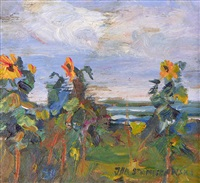 study of sunflowers (3 works) by jan stanislawski