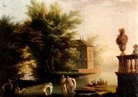 baigneuses dans une rivière près de la terrasse d'un palais avec un turc fumant la pipe by jean henry d' arles