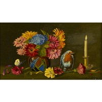 pink martha washington geraniums (+ still life with a bird, lrgr; 2 works) by sondra lipton
