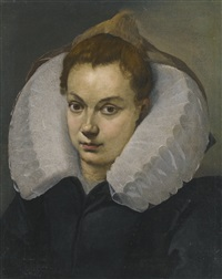 portrait of a woman, head and shoulders, in a white ruff by agostino carracci
