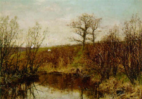 coots on a pond by joseph langsdale pickering