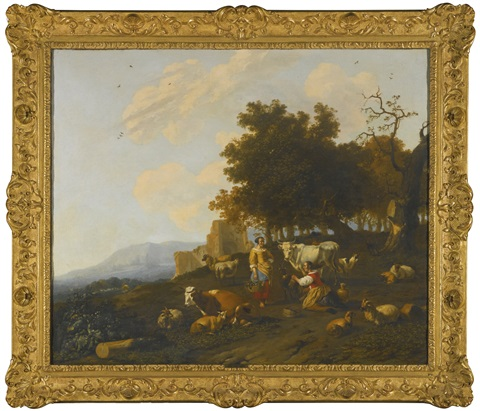 milkmaids milking cattle in a hilly landscape with ruins beyond by hendrick mommers