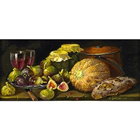 wine glasses and figs (+ watermelon and radishes; 2 works) by sondra lipton