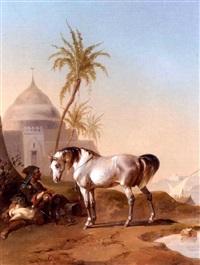 an arab horseman at rest by joseph heicke