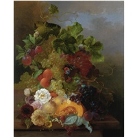 still life of fruit with dahlias and roses by jan van der waarden
