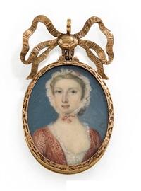 junge dame mit rotem kleid und weißem spitzenhäubchen (anhänger) by peter paul lens