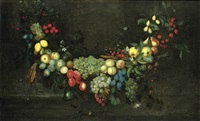 a swag of fruit hanging in a niche, with butterflies, beetles and a snail by catharina ijkens