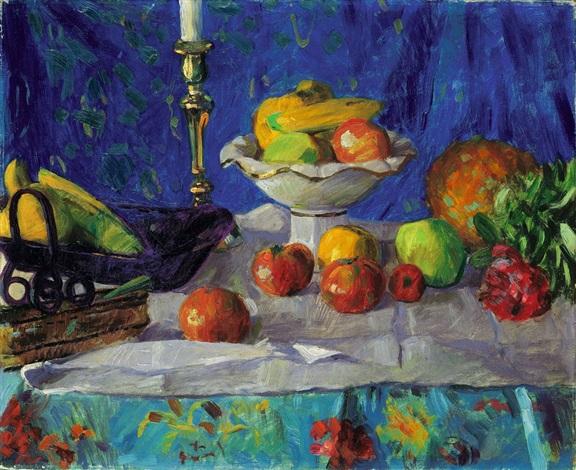 stilleben mit leuchter und ananas by franz nölken