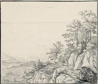 landschaft mit baumbewachsenen felsen by johann caspar huber