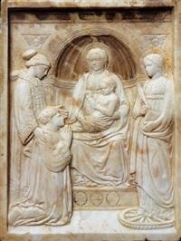 madonna col bambino in trono tra i santi lorenzo e caterina d'alessandria e il donatore, pier marino brancadori by luca della robbia