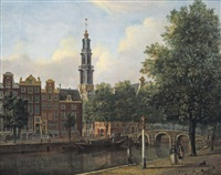 a view of the keizersgracht with the westerkerk, amsterdam by johannes huibert (hendric) prins