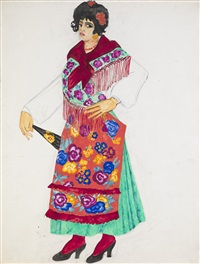 costume design for a gypsy dancer by natalia sergeevna goncharova
