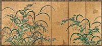 flowering plants (on 6 panel screen) by japanese school-rimpa (18)