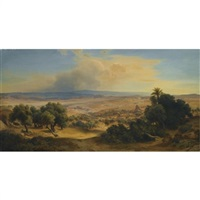 landscape with ancient ruins by august löffler