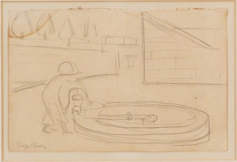 woman at a fountain by diego rivera