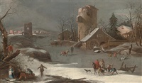 a winter landscape with skaters on a frozen river and a town beyond by francesco foschi