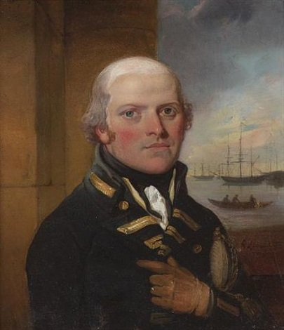 sir george murray wearing naval uniform he holds his sword in the crook of his left arm beyond him an open window to a scene of ships and a rowing boat by richard livesay