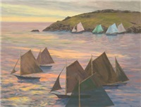 monhegan harbor by lee winslow court