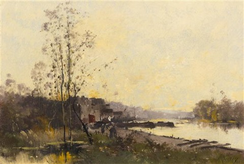 bords de la seine by eugène galien laloue