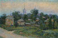 russian village in the evening sun by nicolai alekseevich pinigin