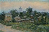 russian village in the evening sun by nicolai alekseevich pinigin