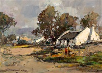 farm cottage with figures by christiaan nice