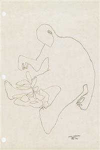 seated figure with a plant by benny andrews