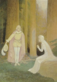prince bowing to woman in forest by george washington hood