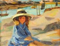 fillette sur la plage by auguste leroux