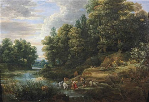 a wooded river landscape with shepherds and their flock resting by jacques d arthois