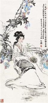 执扇仕女图 by bai bohua