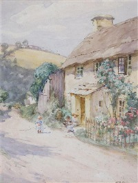 children by a cottage (+ farmyard scene; 2 works) by william banks fortescue