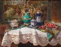 antiquitätenstillleben mit erdbeeren by lea reinhart