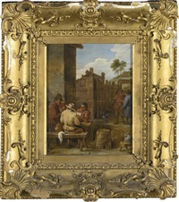 peasants playing cards outside an inn by david teniers the younger