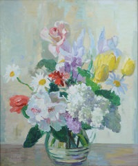 flowers in a glass jug by marcella smith