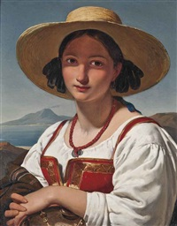 a neapolitan girl before vesuvius by jan adam janszoon kruseman