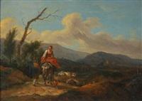 bergers et troupeau dans un paysage vallonné - voyageurs et bergers dans un paysage avec ruine (2 works) by dutch school (18)