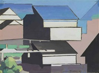 the blue roof by charles sheeler