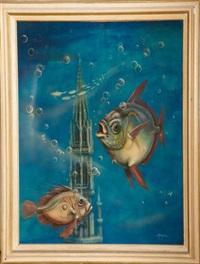 poissons devant la flèche de l'hôtel de ville de bruxelles by daniel monic