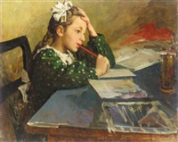 young girl at her desk by pavlovitch fedor reschetnikov