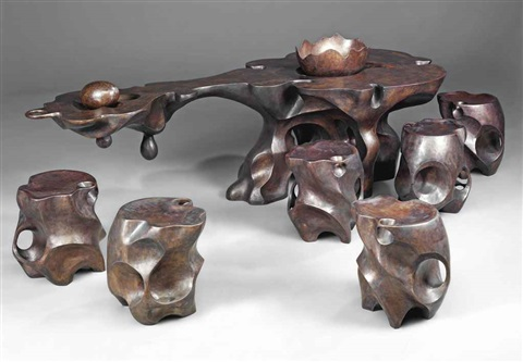 suckling piglets feeding from the cornucopia of natures eternal wellspring table and stools wbowl and egg set of 9 by shi jianmin