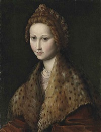 portrait of a lady, half-length, in a red coat with a leopard-fur mantle, pearls and jewels in her hair by bacchiacca