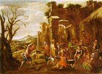 scena di mercato in un villaggio by giovanni michele graneri