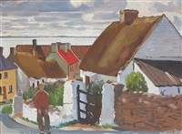 (a village street) clogherhead looking to the cooley mountains by maurice macgonigal