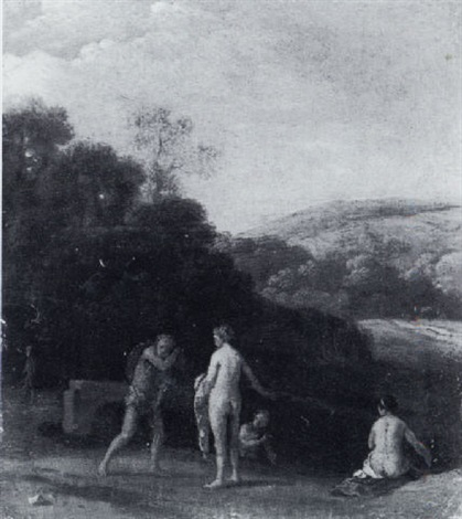 nymphs bathing in a landscape by claes nicolas jacobsz tol