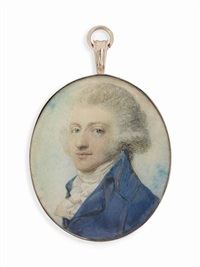 a young gentleman, in blue coat, white knotted cravat, his powdered hair worn en queue; sky background by richard cosway