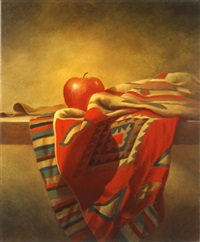 still life and apple by moni leibovitch