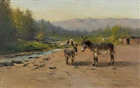 two burros on the cripple creek road by harvey otis young