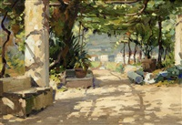 the street leading to the hotel belvedere at ravello; the garden of hotel belvedere (2 works) by luca albino