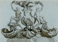 the fontana delle tartarughe, rome (study) by john ruskin